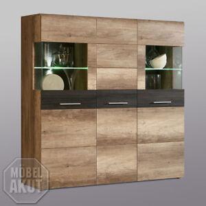 Details Zu Highboard Nabou Vitrine Kommode Eiche Antik Touchwood Braun
