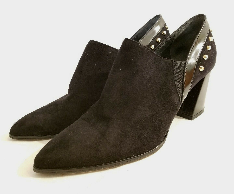 Stuart Weitzman Notaktak Black Studded Suede Bootie Chunky Heel Size 10 New