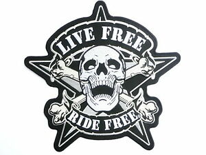 Live Free Ride Free Skull Star Tattoo Outlaw Biker Big Embroider