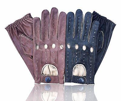 Prime Sports Men's Genuine Nappa Cracker Leather Classic Fashion Driving Gloves