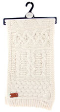 Aran Traditions Womans Ladies Men Winter Warm Knitted Style Cream White Scarf
