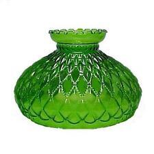 """Lamp Shade Green Glass Diamond Quilted 10"""" Student Desk Table Quilt Oil Kerosene"""