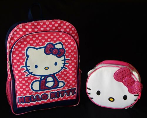 """HELLO KITTY SANRIO 16/"""" Full-Size Backpack Set w//Insulated Lunch Tote Box NWT $50"""