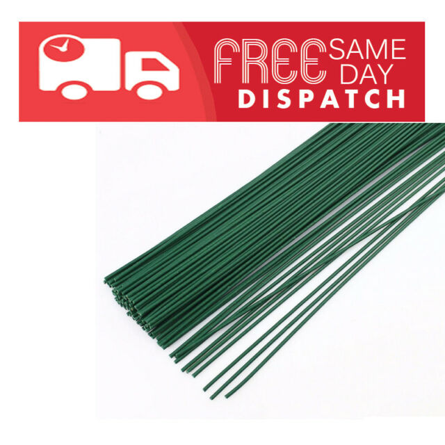 "Florist Wire Green Plastic Coated 22 gauge 0.7 x 225mm 9"" /Please Choose Qty"