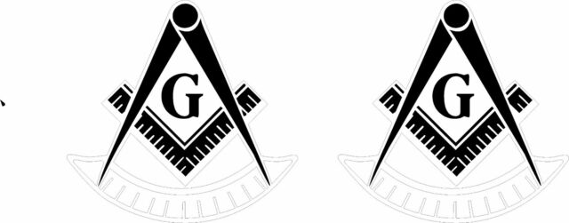 WHITE Vinyl Decal Past Master Masonic Emblem Tail light Mason  2 pieces 3 inches