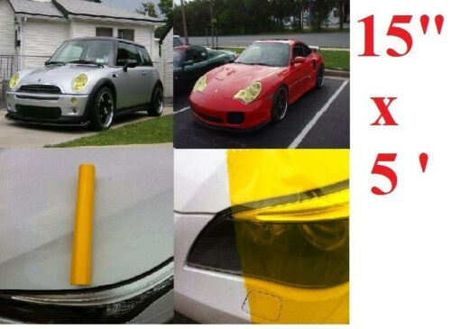 "15/"" x 60/"" Glossy Yellow Tint Headlight Taillight Vinyl Film Sheet Accura"