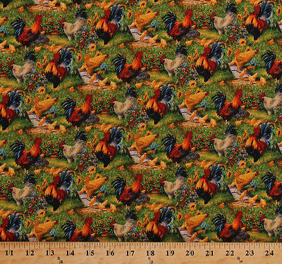 Creatieve hobby's Roosters Chickens Fowl Birds Farm Country Cotton Fabric Print BTY D759.23