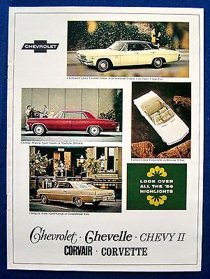 Prospekt brochure 1966 Chevrolet Chevelle * Corvair * Corvette (USA)