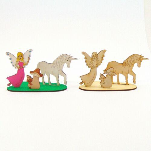 Einhorn Fee Pilz mit Zwerg Fantasy Kreativ Set für Kinder aus Holz zum Basteln