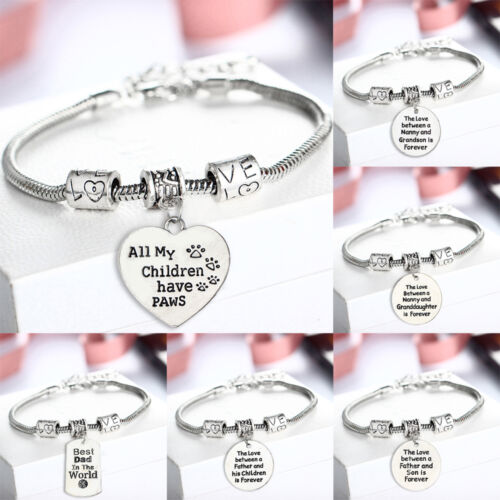 Fashion Family Heart Mom Sister Daughter Bangle Bracelet Charm Pendant Jewelry