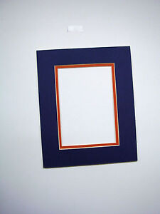 Picture Mat Blue With Orange 16x20 For 11x17 Photo