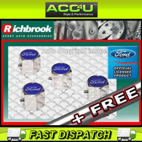 F Richbrook Ford con licencia oficial Auto Antirrobo De Aleación válvula Polvo Tapas Juego De 4