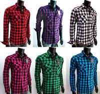 NWT Men Check Western Pearl Snap Cowboy Long sleeves Shirt fit size S M L XL XXL
