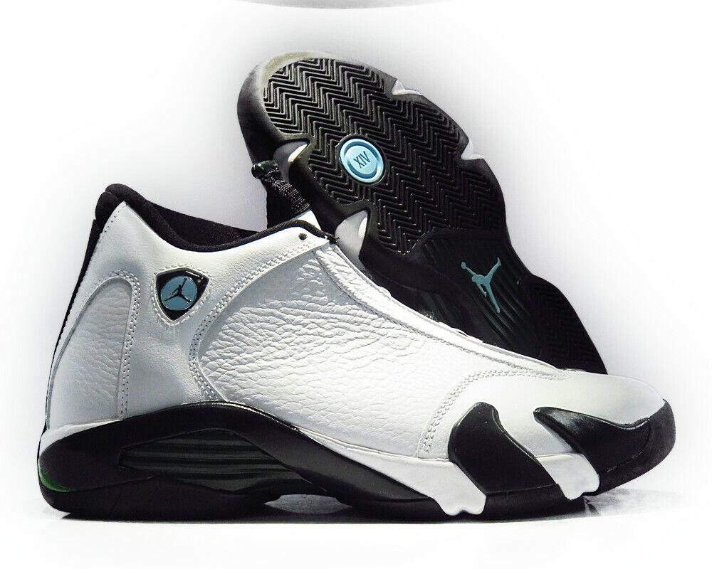 487471-106 Air Jordan 14 Retro (White   Black   Green) Men Sneakers