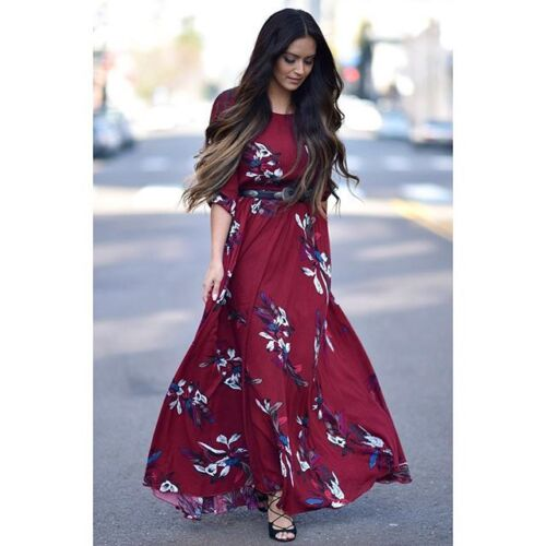 Dress Bloggers Burgundy Boho Printed Maxi S Floral Chicwish Xs qxXaw4W6qO