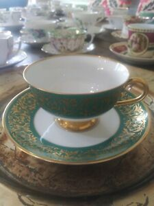 SALE-VINTAGE-F-Monarch-Green-Gold-Tea-Cup-amp-Saucer-Porcelain-Heavy-Gold-EX