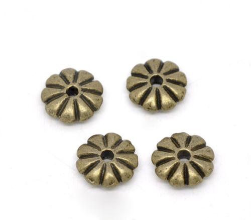 KUS 100 Bronze Blume Spacer Perlen Beads 7x2mm