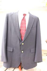 Men-039-s-44L-CHAPS-RALPH-LAUREN-Dark-Navy-Blue-Blazer-Wool-Brass-Gold-Buttons-USA