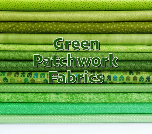 Themed 100/% Cotton Patchwork Fabric Bright Grass GREEN Mixed Patterned Floral
