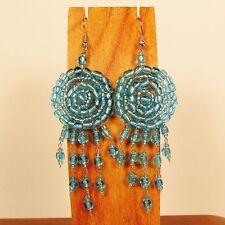 "2 1/2""  Ice Blue Dreamcatcher Handmade Dangle Seed Bead Hook Earring"