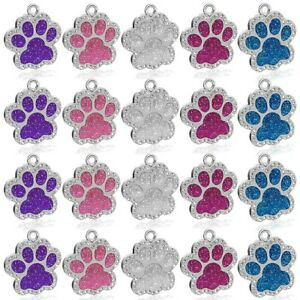 50pcs-Wholesale-Bling-Rhinestones-Paw-Glitter-Personalised-Dog-Tags-Pet-ID-Tag