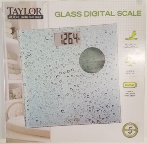 Taylor Water Pattern Glass Digital Scale Step-On Instant Read
