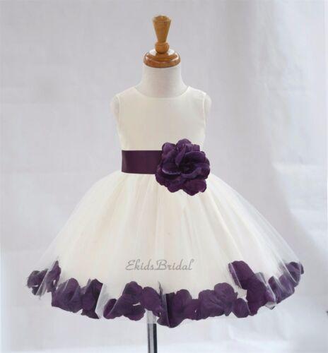 Ivory Flower Girl Dress Rose Petal Purple Pink Black Blue Green Yellow Red 306S1