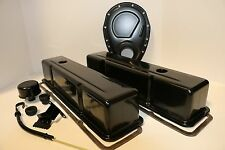 SB Chevy Black Engine Dress Up Kit Tall Valve Covers Timing 58-79 SBC 327 350