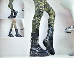 DESIGNER DAMEN STIEFEL Schnallen Spikes Nieten Plateauschuhe Punk-Gothic Boots
