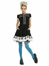 Hot Topic Juniors Lolita Goth Punk Piano Keys Ruffle Dress Black NWOT Medium
