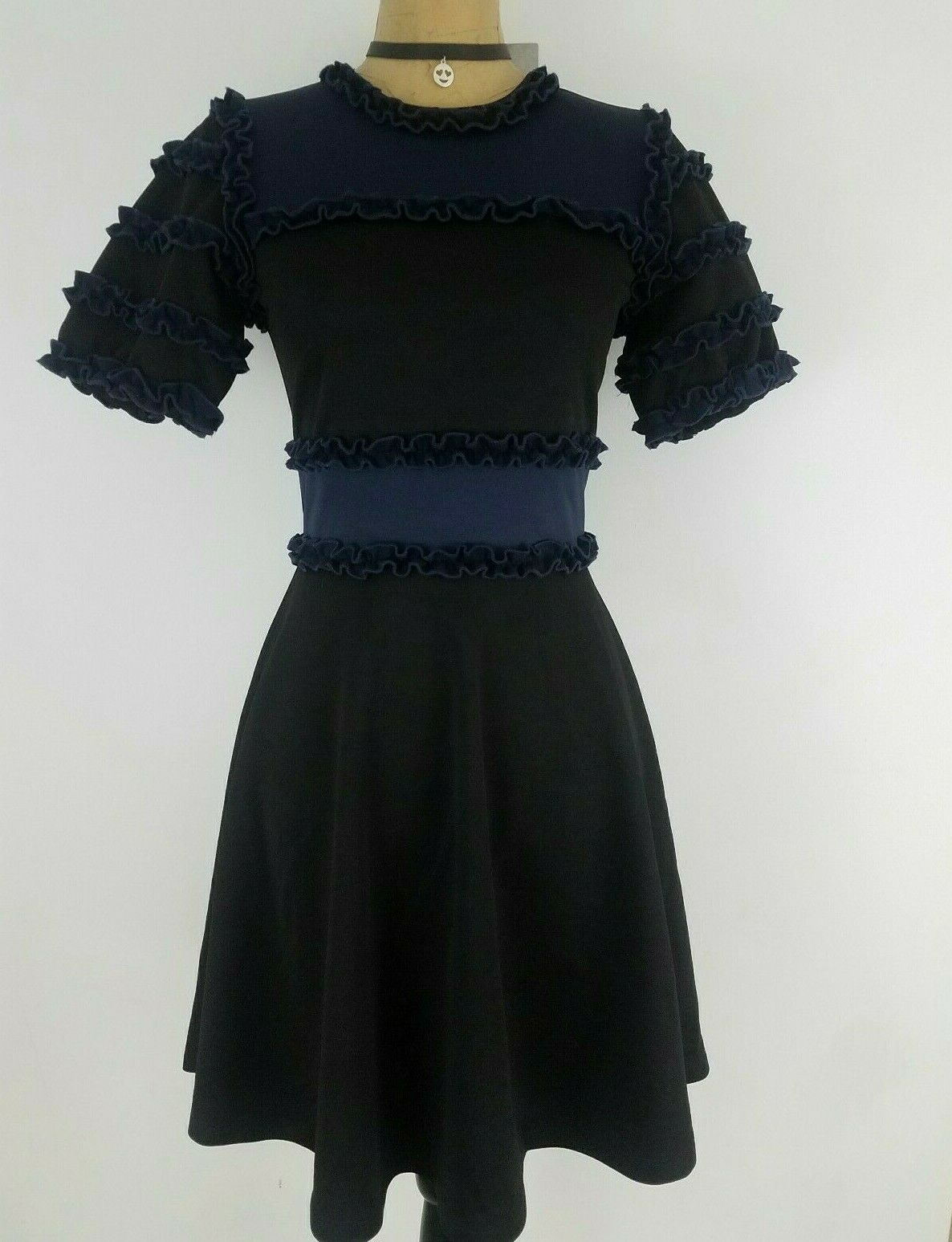 New Opening Ceremony damen Dress Größe 0 - 2 P Navy schwarz Ruffled Short Sleeve