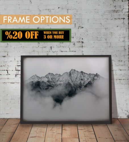 MOUNTAINS POSTER Landscape Picture Black And White Wall Art Print A3 FRAME A4