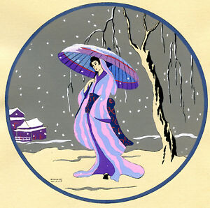 1930s-French-Pochoir-Print-Edouard-Halouze-Japanese-Geisha-Pink-Dress-Umbrella-S