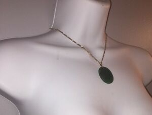 #215 antique JADEITE Pendant set w/14k gold Bright Translucent Green 33.24 tcw