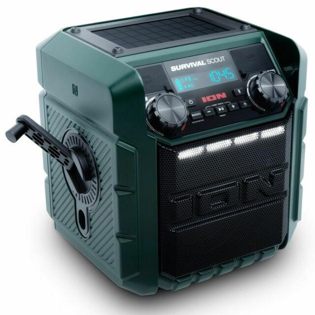 ION Solar Crank Charge Bluetooth Emergency Radio Speaker USB