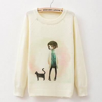 New Fashion Women Long Sleeve Cat Girl Print Sweater Coat Pullover Knitwear Tops