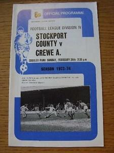 24021974 Stockport County v Crewe Alexandra  Score amp Subs Noted Item In ver - <span itemprop='availableAtOrFrom'>Birmingham, United Kingdom</span> - Returns accepted within 30 days after the item is delivered, if goods not as described. Buyer assumes responibilty for return proof of postage and costs. Most purchases from business s - <span itemprop='availableAtOrFrom'>Birmingham, United Kingdom</span>