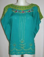 Krista Lee Jungle Oasis Bead Embroidered Scarf Top Blouse Teal Size S / L