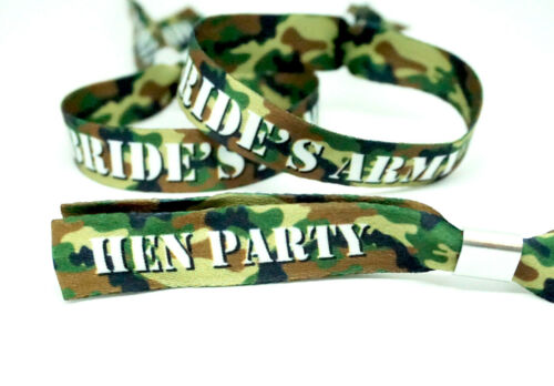 Brides Army Camo Favours Accessories Army Theme Camouflage Hen Party Wristbands