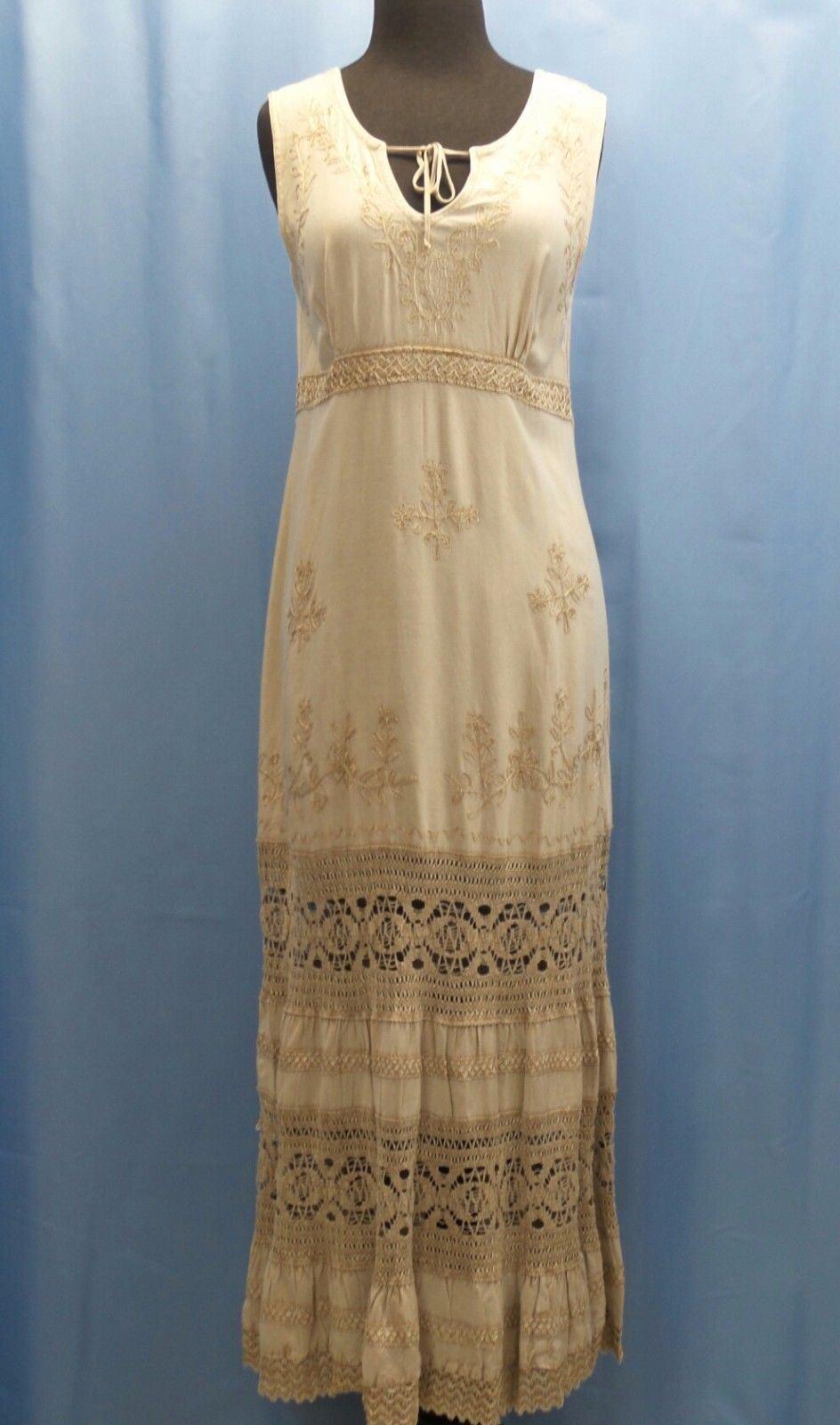 Beige Long Women's Dress Empire Waist Sleeveless Hippie Boho Casual Sundress