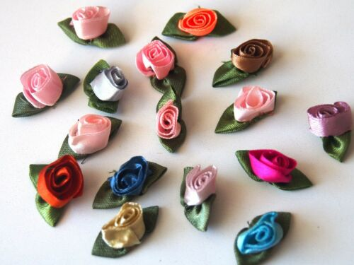 50 pcs Roses application en satin coloré faits à la main hochzeitsdeko 1.5*3cm