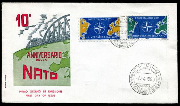 1959 - Decennale Della Nato - Sassone N.854/855 - Busta F.d.c. Les Produits Sont Vendus Sans Limitations