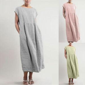 Women-T-Shirt-Long-Maxi-Dress-Solid-Evening-Party-Casual-Shirt-Dress-Summer-Plus