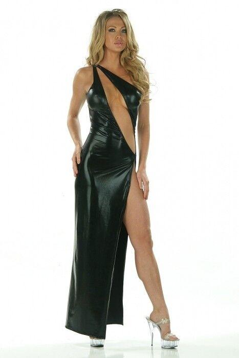 Sexy Abendkleid schwarz Wetlook Gr.36-38 asymetrisch Kleid Gala Show Party