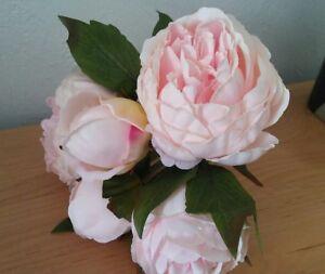 Pfingstrosen Rosa Kunstblumen Bund 5 Bluten Seidenblumen Rosen Deko