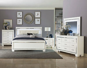Details about Modern White Finish 5 piece Bedroom Set w/ Queen Size LED  Lighted Vinyl Bed IA51