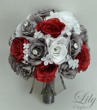 17 Piece Package Silk Flower Wedding Bridal Bouquet Decoration WHITE GREY RED