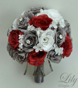 Details about 17 Piece Package Silk Flower Wedding Bridal Bouquet  Decoration WHITE GREY RED
