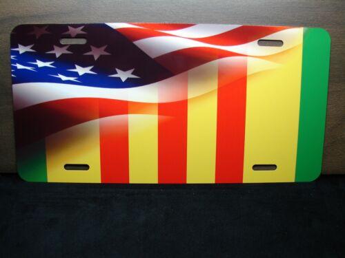 VIETNAM VETERAN RIBBON AMERICAN FLAG METAL NOVELTY LICENSE PLATE FOR CARS