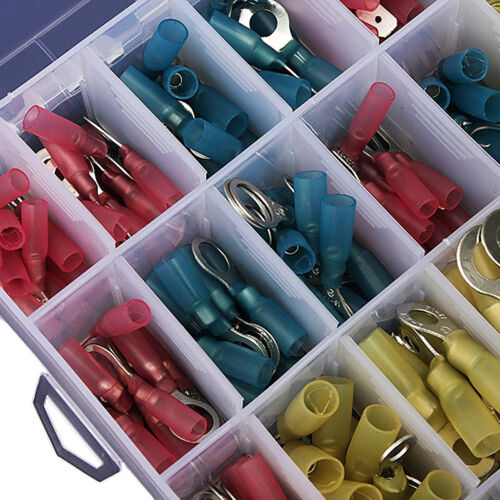 240 Pcs Insulated Heat Shrink Butt Electrical Wire Crimp Terminal Connectors Set